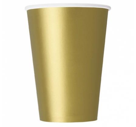 10 Gobelets en carton or 355 ml