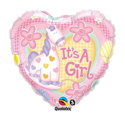 Ballon Aluminium 18″ It's A Girl Soft Pony – Qualatex