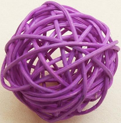 6 Boules en osier prune 3,5 cm