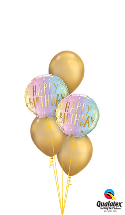 "Ballons CLASSIC ""Shiny Neon & Gold Bday"""