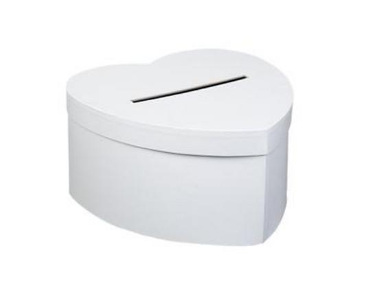 Urne cartonnée en forme de coeur blanc de 25 cm