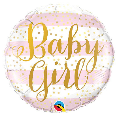 Ballon Aluminium 18″ Baby Girl Pink Stripes – Qualatex