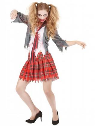 Déguisement zombie écolière femme