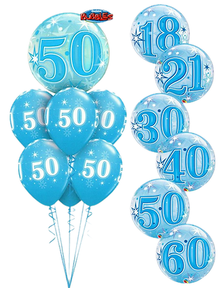 Ballons LUXURY Bubble Birthday Sparkle Blue