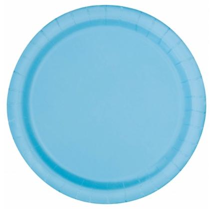 16 assiettes en carton bleu pastel 23 cm