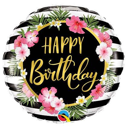Ballon Aluminium 18″ Birthday Hibiscus Stripes – Qualatex
