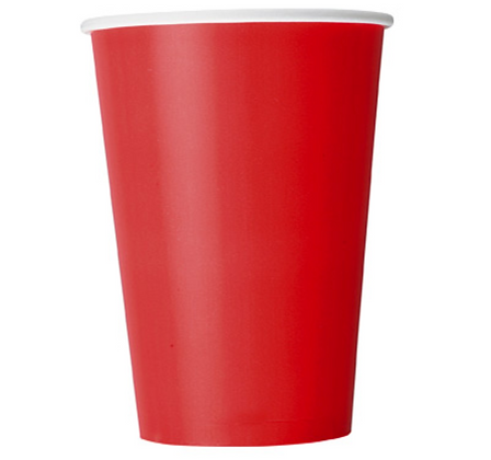 10 Gobelets en carton rouge 355 ml