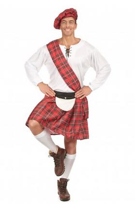 Déguisement écossais rouge et blanc homme