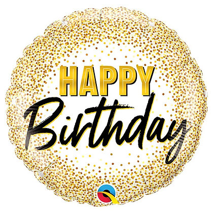 Ballon Aluminium 18″ Bday Gold Glitter Dots – Qualatex
