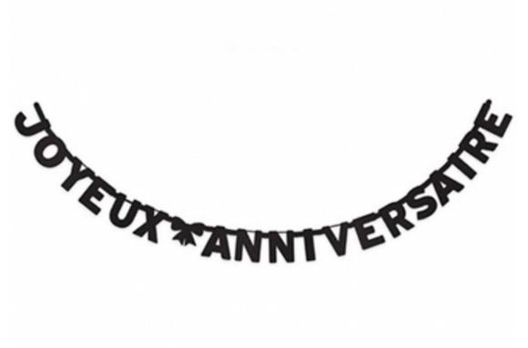 Guirlande Joyeux Anniversaire noire 280 cm