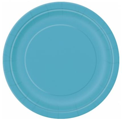 16 assiettes en carton bleu caraïbe 23 cm