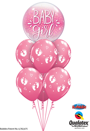 "Ballons LUXURY Bulle ""Baby Confetti"" Girl"