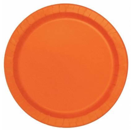 16 assiettes en carton orange 23 cm