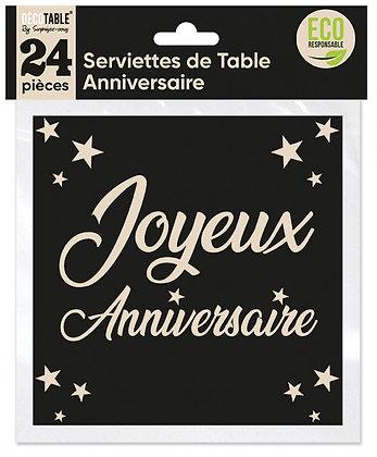 Serviettes de table Anniversaire x24 Noir