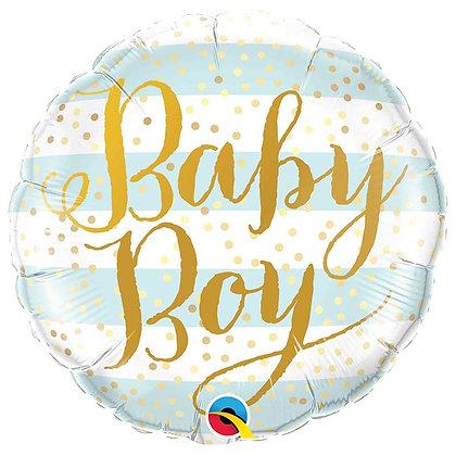 Ballon Aluminium 18″ Baby Boy Blue Stripes – Qualatex