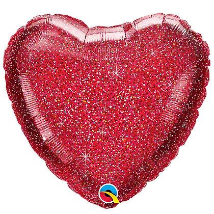 Ballon Coeur 18″ Rouge Pailleté – Qualatex