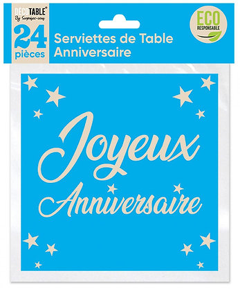 Serviettes de table Anniversaire x24 Bleu