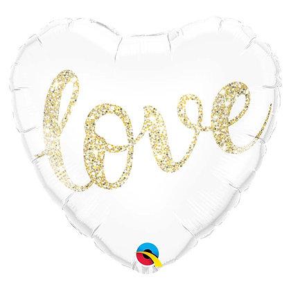 Ballon Aluminium 18″ Love Glitter Gold – Qualatex