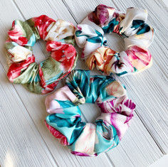 Mini Satin Tropical Scrunchies