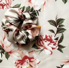 Satin Floral Scrunchie