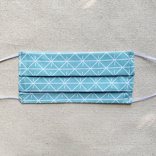 Geo Teal Accordion Face Mask