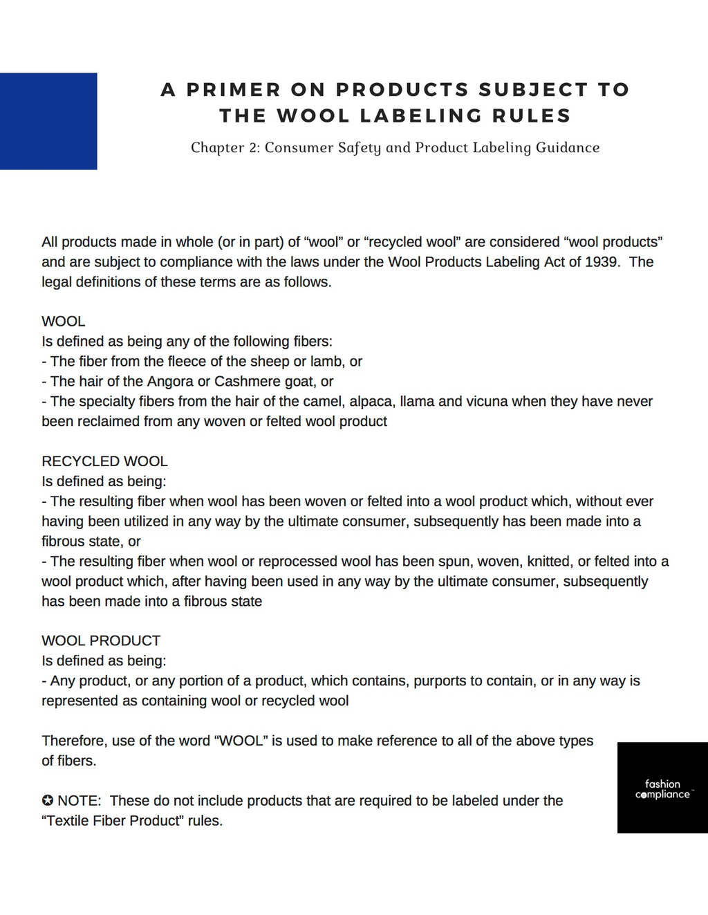 A Primer on Wool Products Subject to the Wool Labeling Rules