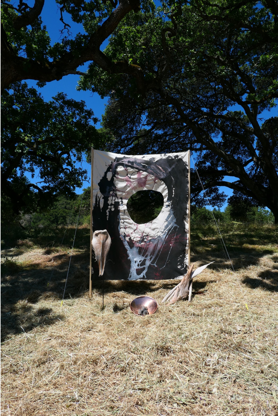 installation view at Woodside, California, acrylic on canvas, copper plate, volcanic stones, eucalyptus tree barks, palm tree bark