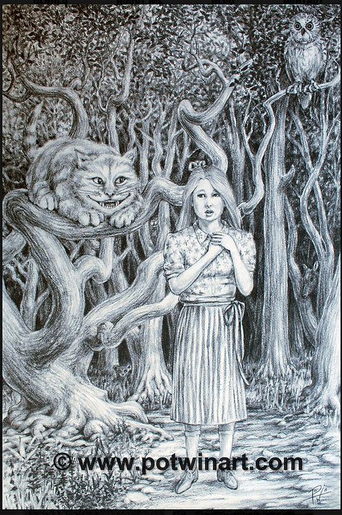Pen & Ink Drawing: Alice and Cheshire