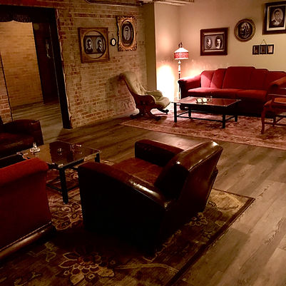 The Hideout gathering space at The Bank of East Aurora, coffee tables made out of safe doors