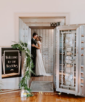 bride & groom in the main vault at The Bank