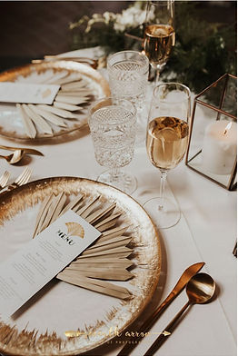 wedding place setting and menu