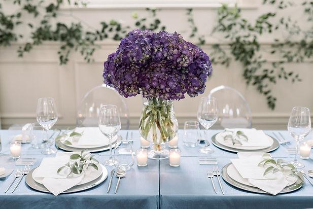 Flower on Blue Table, wedding receiption table settings