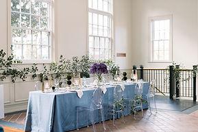 wedding reception table setup at The Bank