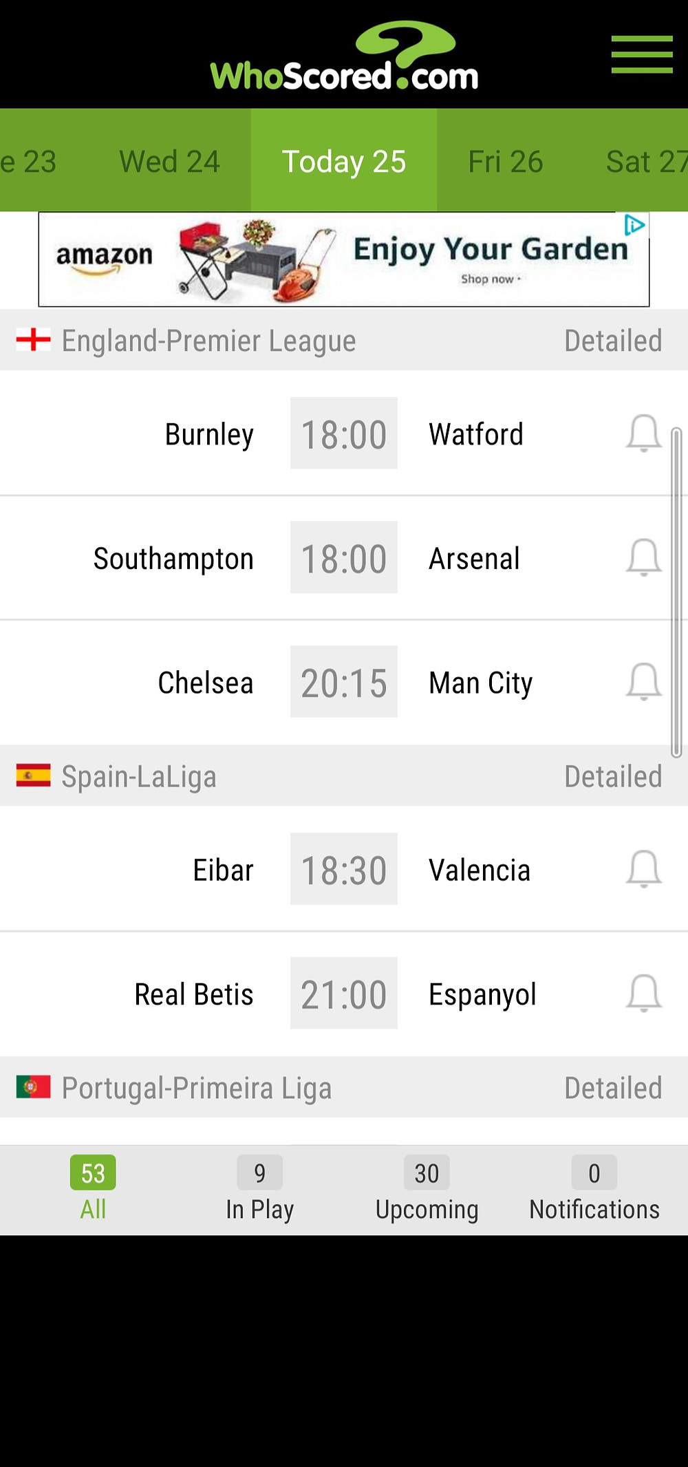 WhoScored Football Match Schedule