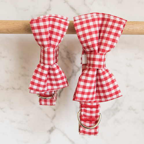 Red Checkered Bow Tie Collar