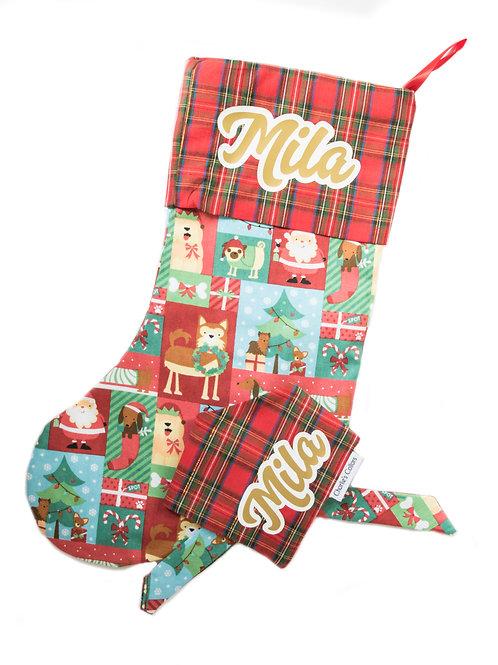 A Pupperful Christmas stocking and bandana set