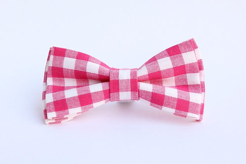 Pink check Bow Tie