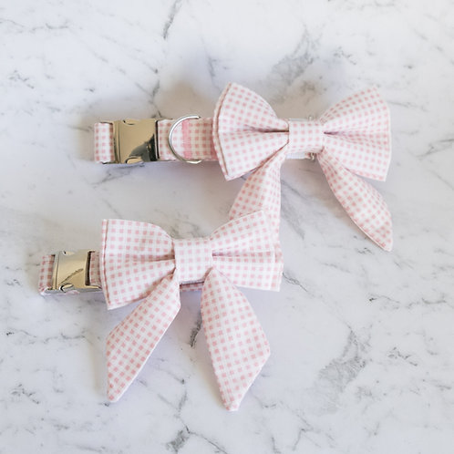 Pastel Pink Checkered bow collar