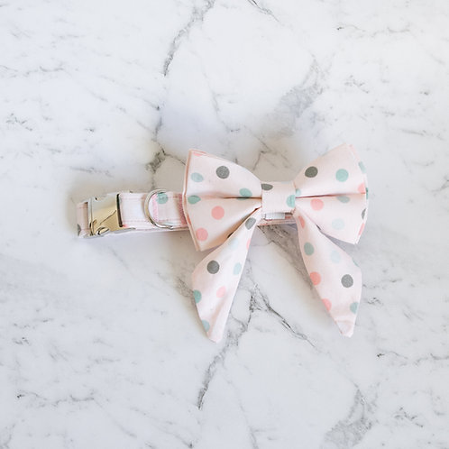 Pink Polka Bow collar