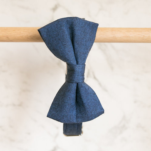 Denim bow tie collar