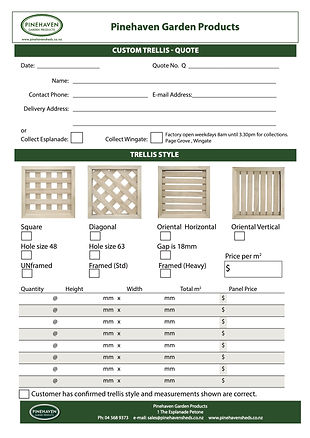 Custom Trellis Quote Form 40mm lath July
