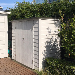 Painted Leant-To Courtyard Cupboard