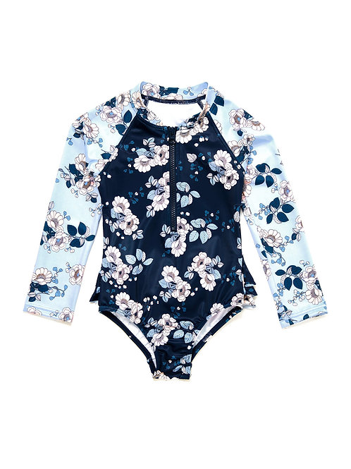 SEAFOLLY SPLENDOUR TODDLERS LONG SLEEVE SURF TANK ONE PIECE