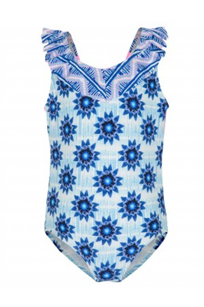 PLATYPUS INKY BLOOM RUFFLE SWIMSUIT