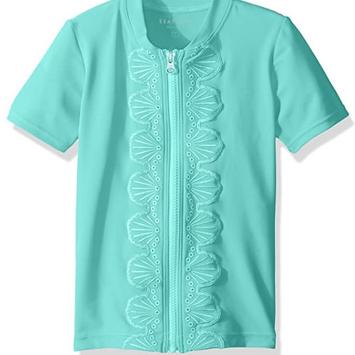 SEAFOLLY SWEET SUMMER S/S ZIP FRONT RASHIE