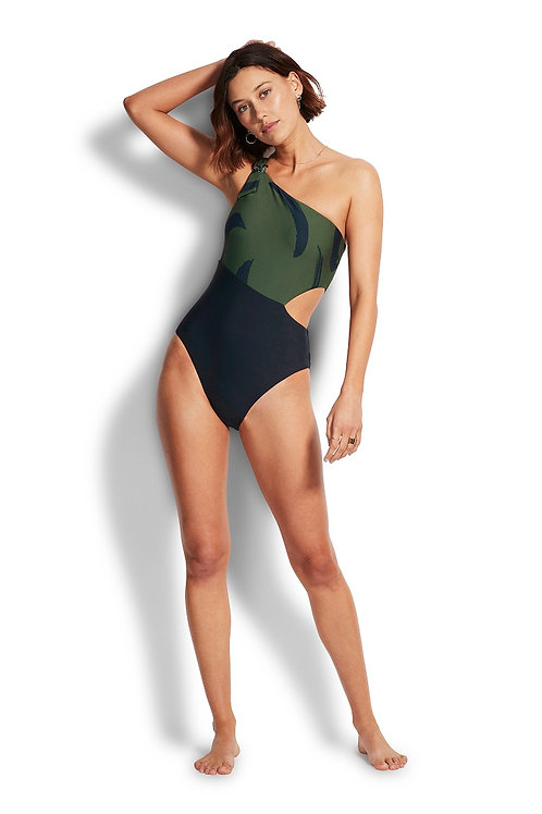 SEAFOLLY NEW WAVE ONE SHOULDER MAILLOT