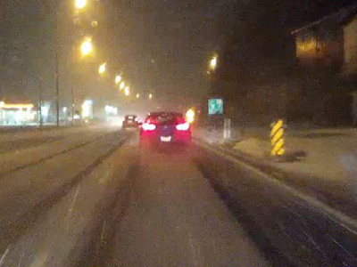 Dash cam screen grab during the blizzard on Highway 7 in Kaladar.