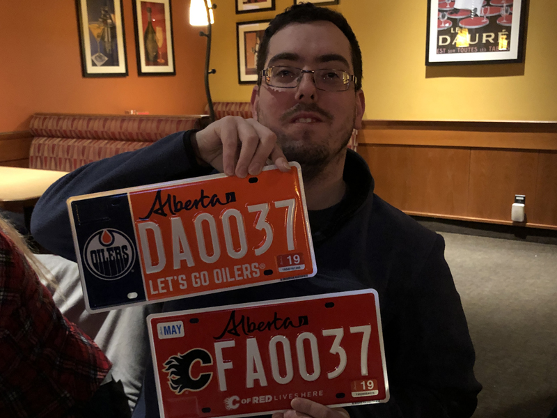 Mike with his super-cool Oilers and Flames graphic plates, fresh out of Wild Rose Country.