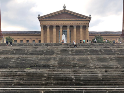"The iconic ""Rocky"" steps lead up to the museum in five tiers."