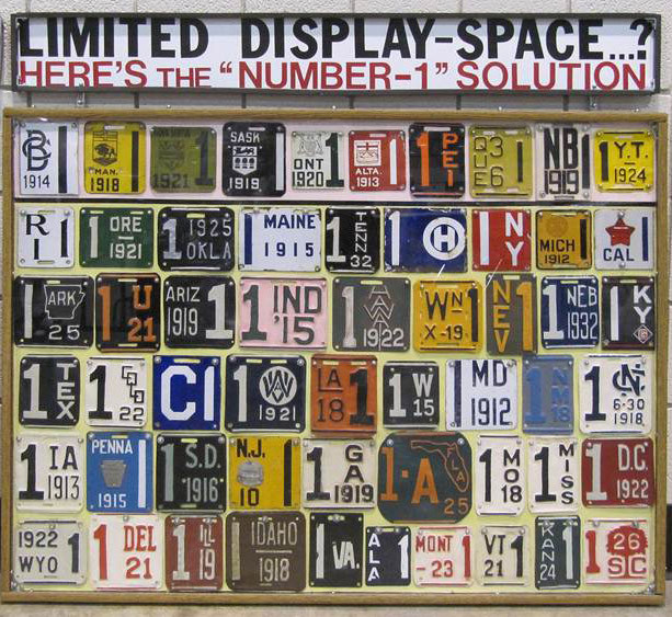 Display of snipped plates by Bruce Lobay